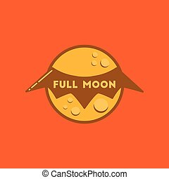flat icon on stylish background full moon bat
