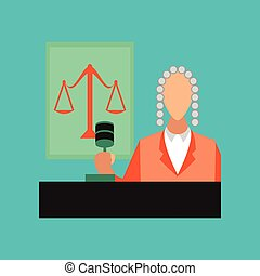 flat icon on stylish background jurisdiction judge - flat...
