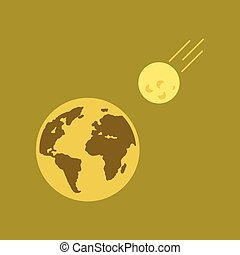 flat icon on stylish background meteorite earth