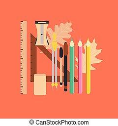 flat icon on stylish background pencils pens ruler