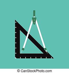 flat icon on stylish background ruler compass