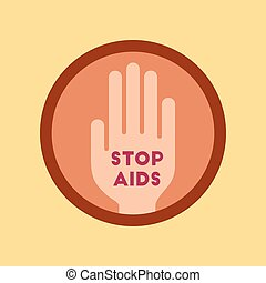 flat icon on stylish background Stop AIDS symbol