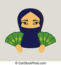 flat icon on theme Arabic business money Muslim woman
