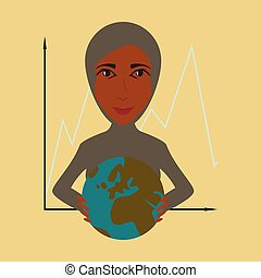 flat icon on theme Arabic business woman and economic graph