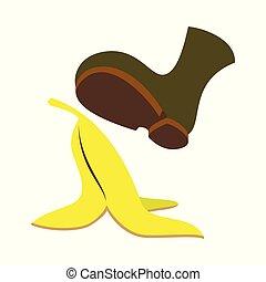 flat icon on theme humor banana peel
