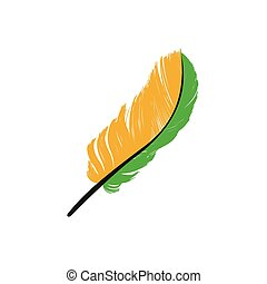flat icon on white background bird's feather
