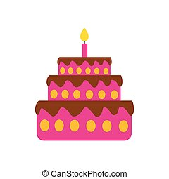 flat icon on white background birthday cake