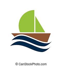flat icon on white background boat sailboat