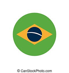 flat icon on white background Brazilian flag