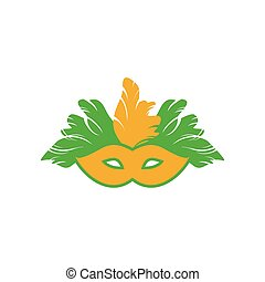 flat icon on white background Carnival mask