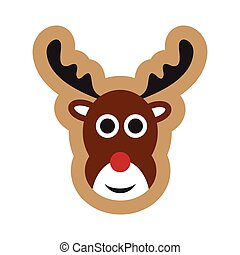 flat icon on white background Christmas deer