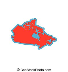 flat icon on white background  map of Canada