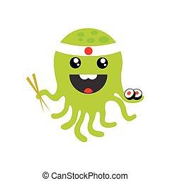 flat icon on white background octopus sushi