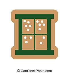 flat icon on white background snow outside the window