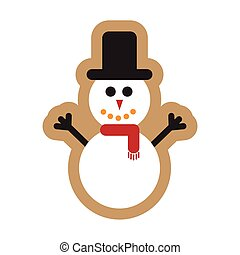 flat icon on white background Snowman in hat