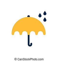 flat icon on white background umbrella rain