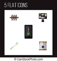 Flat Icon Oneday Set Of Bureau, Mattress, Boardroom And Other Vector Objects. Also Includes Dental, Cellphone, Mattress Elements.