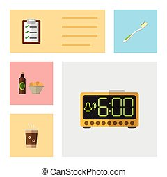Flat Icon Oneday Set Of Questionnaire, Dental, Electric Alarm And Other Vector Objects. Also Includes Cup, Snack, Chips Elements.