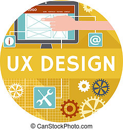 Flat icon or banner for ux design - Vector icon or banner...