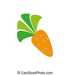 Flat icon orange line carrot isolated on white background. Vector illustration.