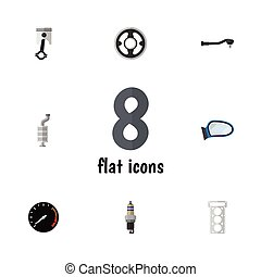 Flat Icon Parts Set Of Auto Component, Silencer, Tachometr...