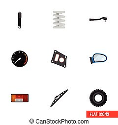 Flat Icon Parts Set Of Gasket, Windshield, Auto Component...
