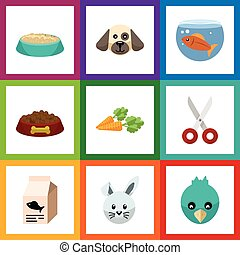 Flat Icon Pets Set Of Fishbowl, Shears, Dog Food And Other Vector Objects. Also Includes Bird, Puppy, Nutrient Elements.