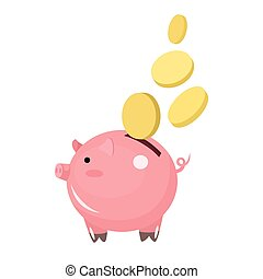 Flat icon piggy bank with coins isolated on white background. Vector illustration.
