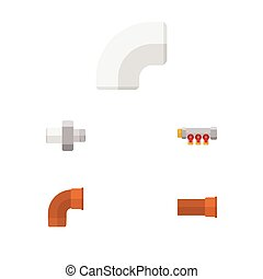 Flat Icon Pipeline Set Of Cast, Connector, Pipework And Other Vector Objects. Also Includes Controller, Pipework, Pipe Elements.