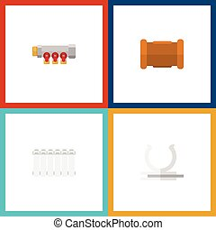 Flat Icon Pipeline Set Of Conduit, Pipe, Radiator And Other Vector Objects. Also Includes Heater, Cast, Pipework Elements.