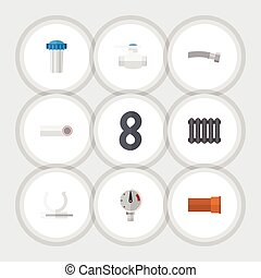 Flat Icon Pipeline Set Of Corrugated Pipe, Drain, Heater And Other Vector Objects. Also Includes Plastic, Holder, Plumbing Elements.