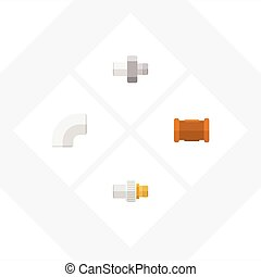 Flat Icon Pipeline Set Of Pipe, Industry, Plastic And Other Vector Objects. Also Includes Pipe, Iron, Industry Elements.