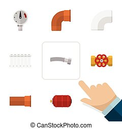 Flat Icon Pipeline Set Of Radiator, Pump Valve, Cast And Other Vector Objects. Also Includes Flange, Water, Drain Elements.