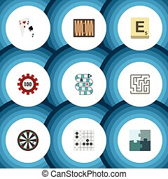 Flat Icon Play Set Of Dice, Labyrinth, Jigsaw And Other Vector Objects. Also Includes Ace, Cards, Labyrinth Elements.