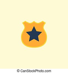 Flat Icon Police Badge Element. Vector Illustration Of Flat Icon Officer Emblem Isolated On Clean Background. Can Be Used As Police, Badge And Emblem Symbols.