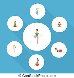 Flat Icon Pregnant Set Of Yoga, Pregnant Woman, Pregnancy And Other Vector Objects. Also Includes Pregnancy, Lady, Pregnant Elements.