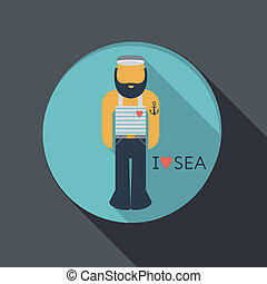 flat icon. sailor with a beard