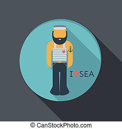 flat icon. sailor with a beard