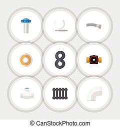 Flat Icon Sanitary Set Of Tap, Roll, Conduit And Other Vector Objects. Also Includes Pump, Plumbing, Faucet Elements.