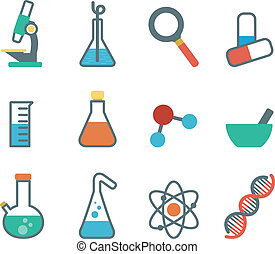 flat icon science - a set of plane icons with symbols of...