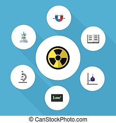 Flat Icon Science Set Of Attractive Force, Theory Of Relativity, Glass And Other Vector Objects. Also Includes Flask, Force, Book Elements.