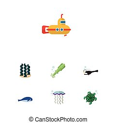 Flat Icon Sea Set Of Alga, Periscope, Cachalot And Other Vector Objects. Also Includes Submarine, Squid, Tentacle Elements.