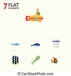 Flat Icon Sea Set Of Cachalot, Medusa, Alga And Other Vector Objects. Also Includes Periscope, Fish, Spirulina Elements.