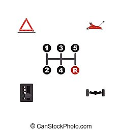 Flat Icon Service Set Of Suspension, Lifting, Carrying And Other Vector Objects. Also Includes Stop, Suspension, Emergency Elements.