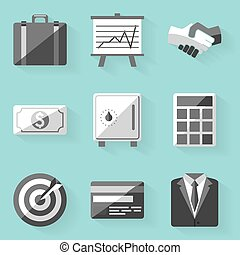 Flat icon set. Business. White style
