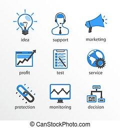 Flat icon set design blue.