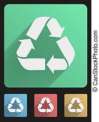 Flat icon set eco recycled