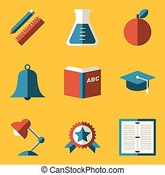 Flat icon set. Education