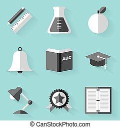 Flat icon set. Education. White style