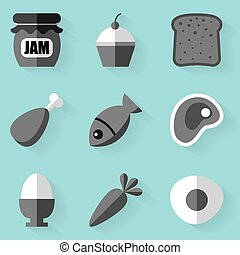 Flat icon set. Food. White style